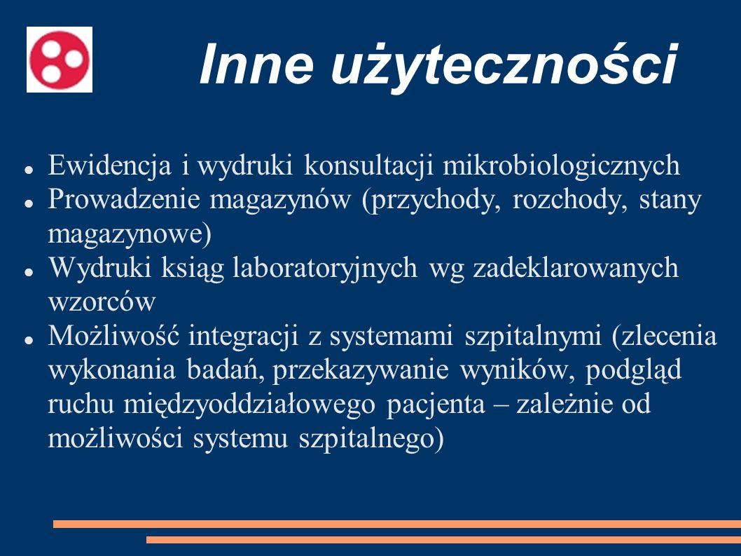 Inne użyteczności Ewidencja i wydruki konsultacji mikrobiologicznych