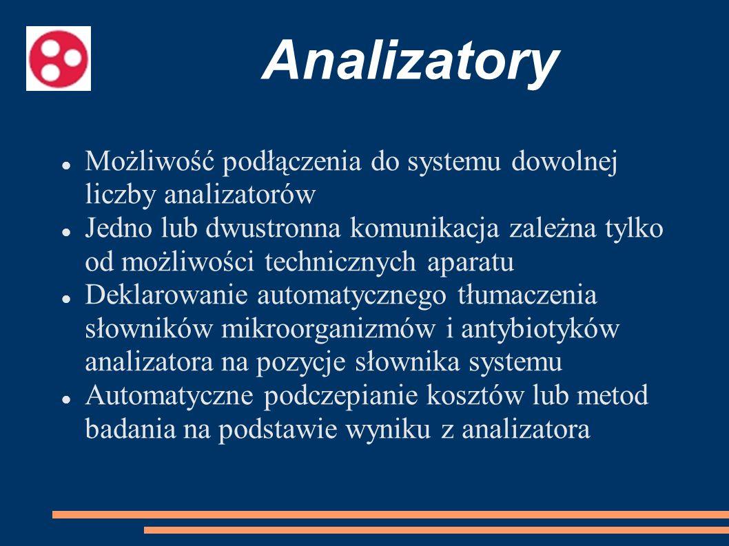 Analizatory Możliwość podłączenia do systemu dowolnej liczby analizatorów.