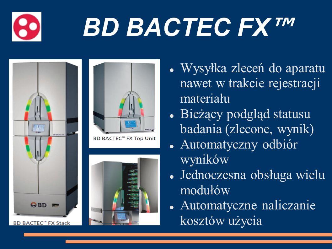 BD BACTEC FX™ Wysyłka zleceń do aparatu nawet w trakcie rejestracji materiału. Bieżący podgląd statusu badania (zlecone, wynik)