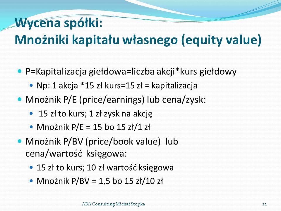 Wycena spółki: Mnożniki kapitału własnego (equity value)