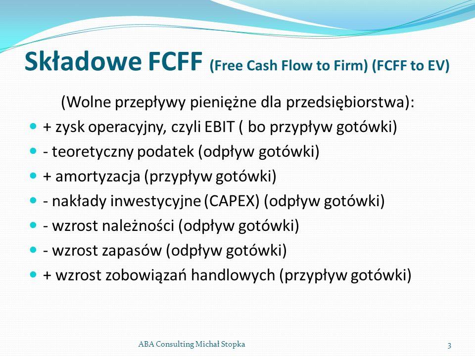 Składowe FCFF (Free Cash Flow to Firm) (FCFF to EV)