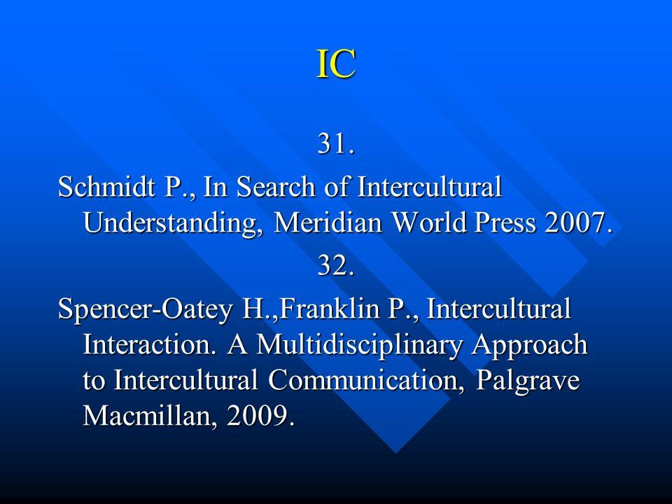 IC 31. Schmidt P., In Search of Intercultural Understanding, Meridian World Press 2007. 32.
