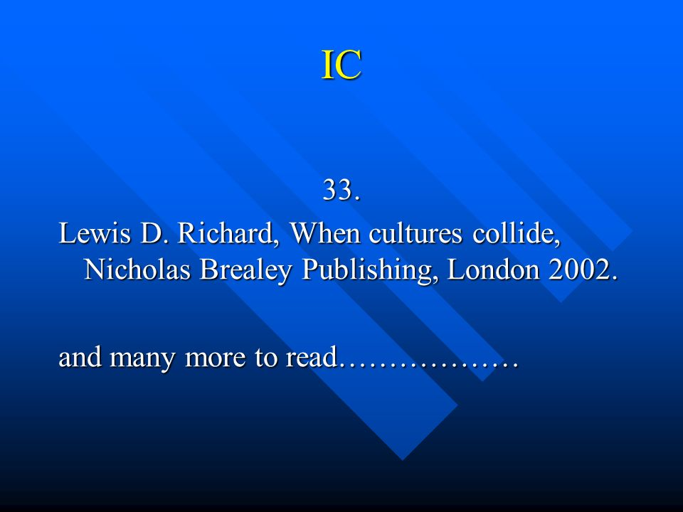 IC 33. Lewis D. Richard, When cultures collide, Nicholas Brealey Publishing, London 2002.