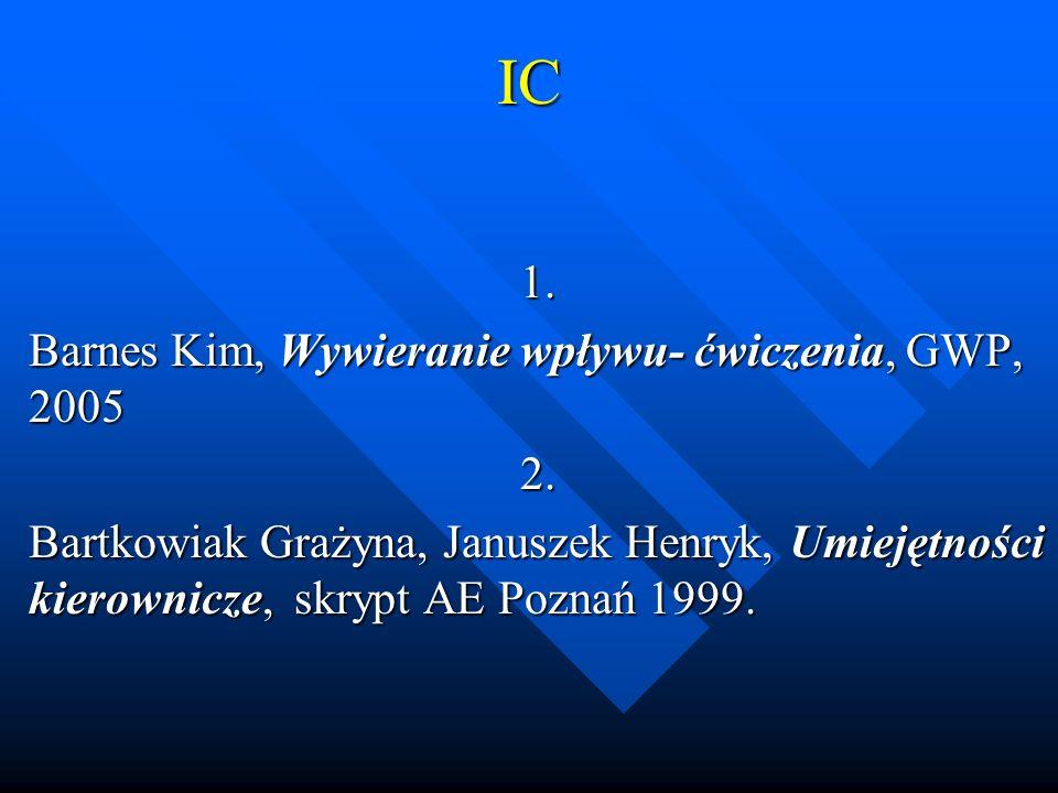 IC 1. Barnes Kim, Wywieranie wpływu- ćwiczenia, GWP, 2005 2.