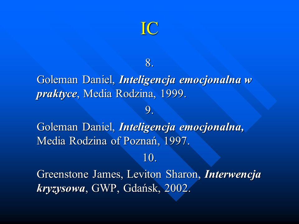 IC 8. Goleman Daniel, Inteligencja emocjonalna w praktyce, Media Rodzina, 1999. 9.