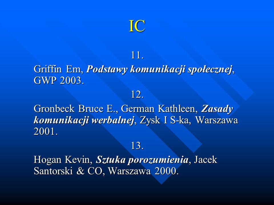 IC 11. Griffin Em, Podstawy komunikacji społecznej, GWP 2003. 12.
