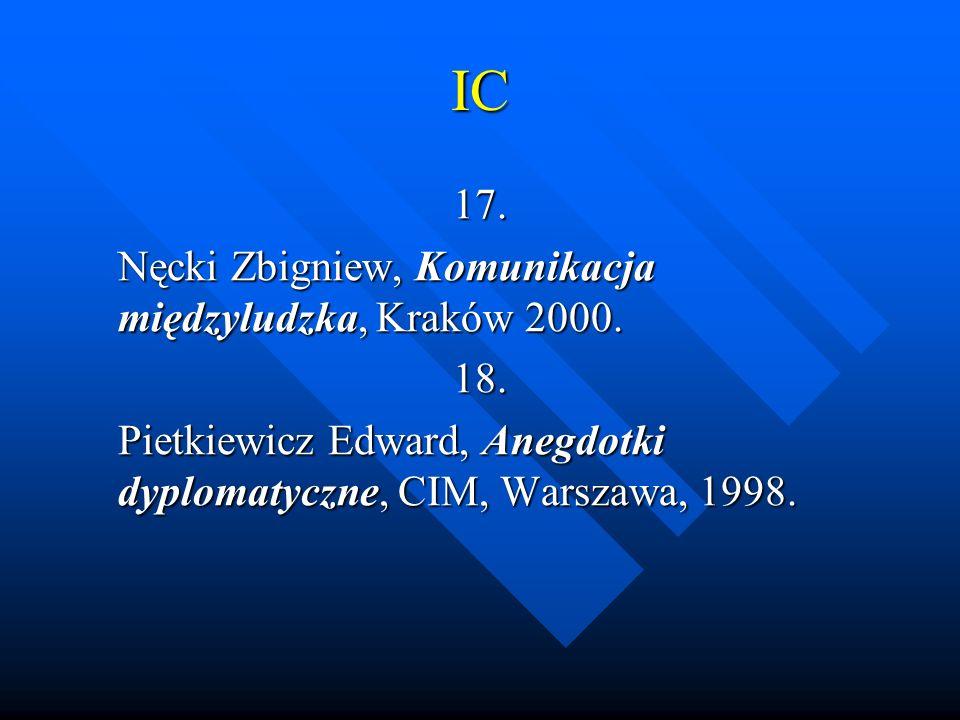 IC 17. Nęcki Zbigniew, Komunikacja międzyludzka, Kraków 2000. 18.