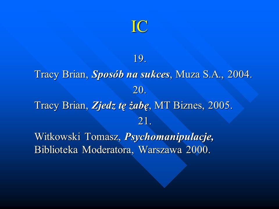 IC 19. Tracy Brian, Sposób na sukces, Muza S.A., 2004. 20.