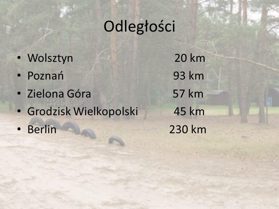 Odległości Wolsztyn 20 km Poznań 93 km Zielona Góra 57 km