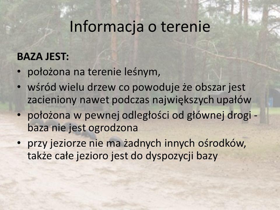 Informacja o terenie BAZA JEST: położona na terenie leśnym,