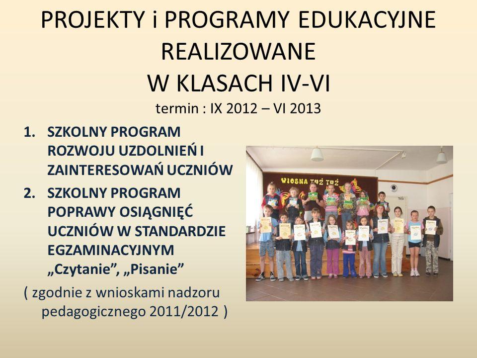 PROJEKTY i PROGRAMY EDUKACYJNE REALIZOWANE W KLASACH IV-VI termin : IX 2012 – VI 2013