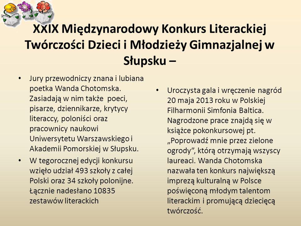 XXIX Międzynarodowy Konkurs Literackiej Twórczości Dzieci i Młodzieży Gimnazjalnej w Słupsku –