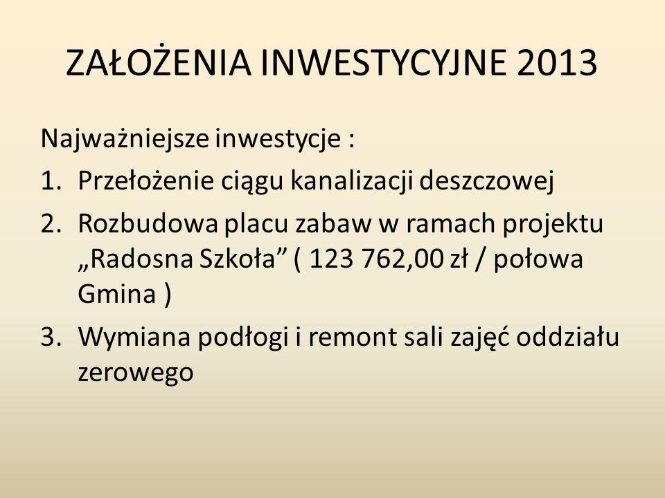 ZAŁOŻENIA INWESTYCYJNE 2013