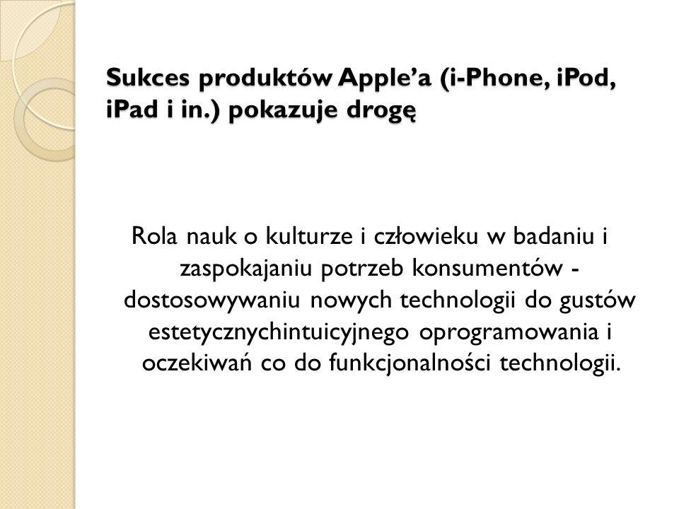 Sukces produktów Apple'a (i-Phone, iPod, iPad i in.) pokazuje drogę