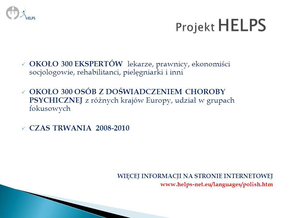 Projekt HELPS OKOŁO 300 EKSPERTÓW lekarze, prawnicy, ekonomiści socjologowie, rehabilitanci, pielęgniarki i inni.