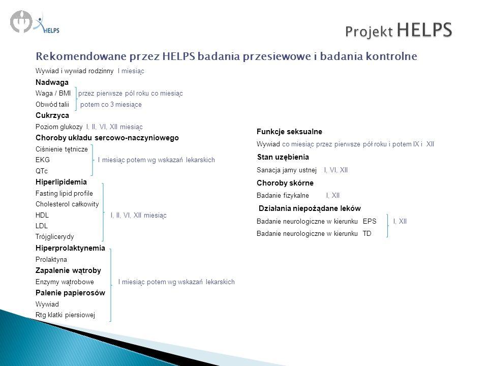Projekt HELPS Rekomendowane przez HELPS badania przesiewowe i badania kontrolne. Wywiad i wywiad rodzinny I miesiąc.
