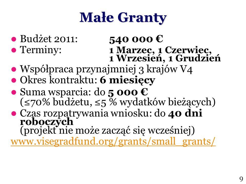 Małe GrantyBudżet 2011: 540 000 € Terminy: 1 Marzec, 1 Czerwiec, 1 Wrzesień, 1 Grudzień. Współpraca przynajmniej 3 krajów V4.