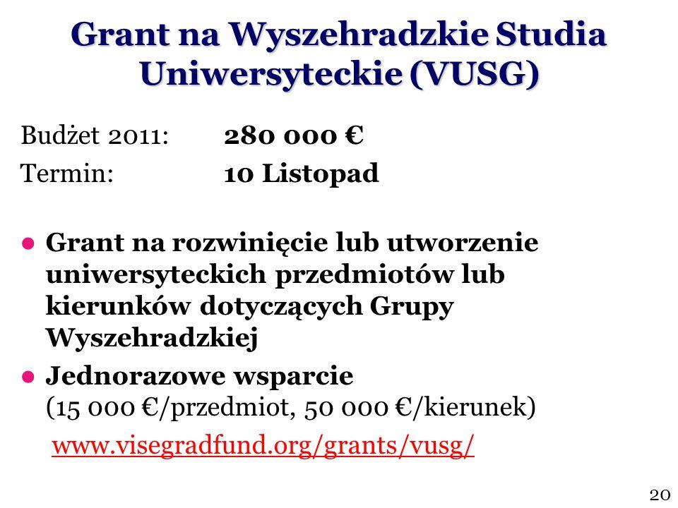 Grant na Wyszehradzkie Studia Uniwersyteckie (VUSG)