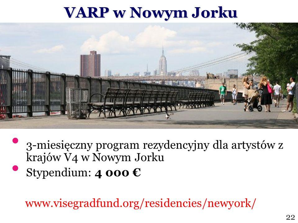 VARP w Nowym Jorku3-miesięczny program rezydencyjny dla artystów z krajów V4 w Nowym Jorku. Stypendium: 4 000 €