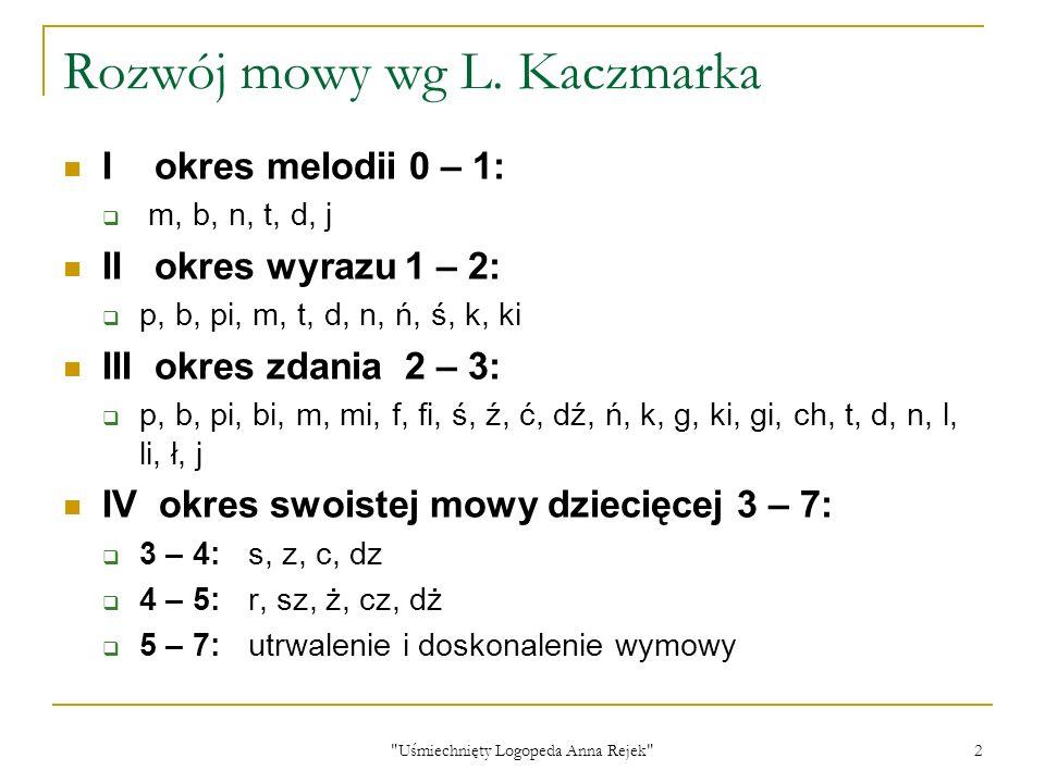 Rozwój mowy wg L. Kaczmarka