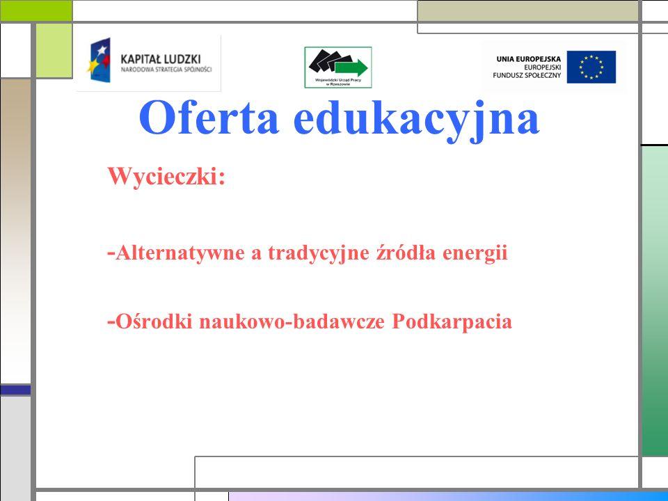 Oferta edukacyjna Wycieczki: -Alternatywne a tradycyjne źródła energii