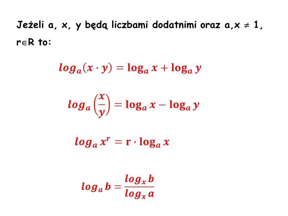 Jeżeli a, x, y będą liczbami dodatnimi oraz a,x  1, rR to: