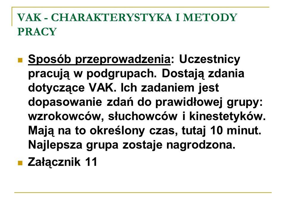 VAK - CHARAKTERYSTYKA I METODY PRACY