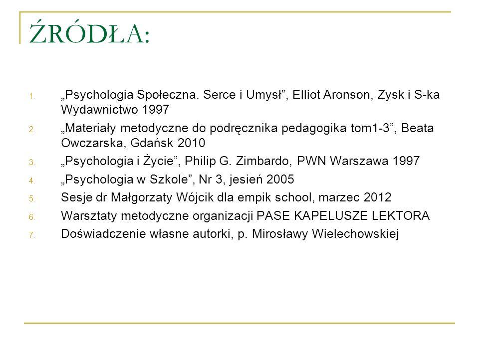 """ŹRÓDŁA: """"Psychologia Społeczna. Serce i Umysł , Elliot Aronson, Zysk i S-ka Wydawnictwo 1997."""