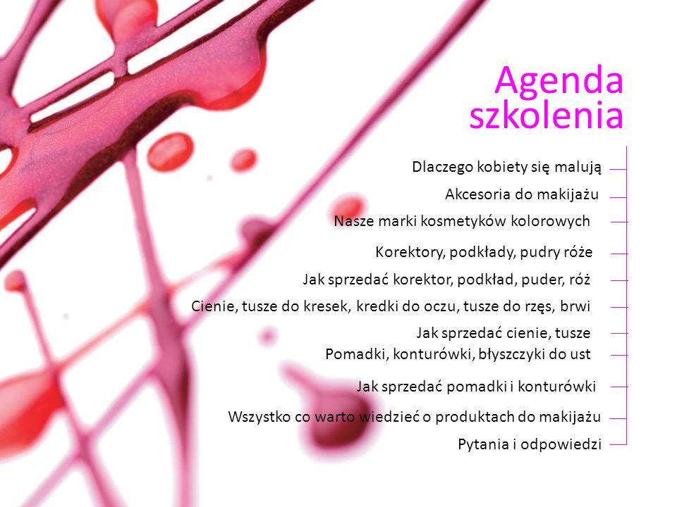 Agenda szkolenia Dlaczego kobiety się malują Akcesoria do makijażu