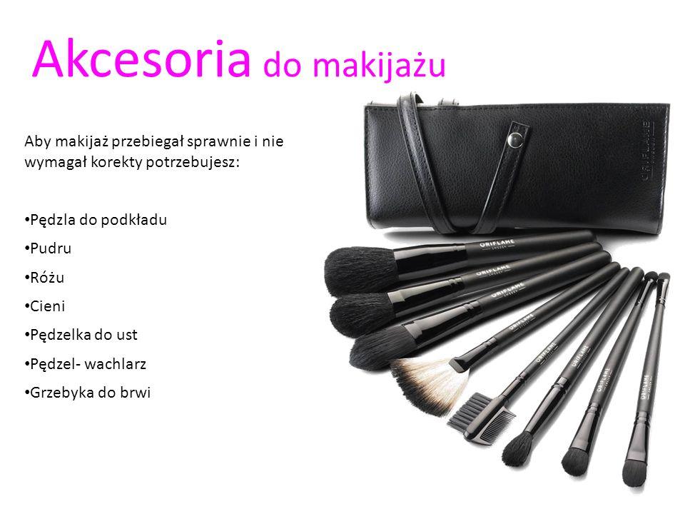 Akcesoria do makijażu Aby makijaż przebiegał sprawnie i nie wymagał korekty potrzebujesz: Pędzla do podkładu.