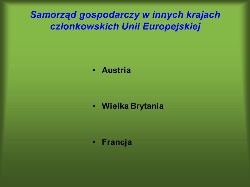 Samorząd gospodarczy w innych krajach członkowskich Unii Europejskiej