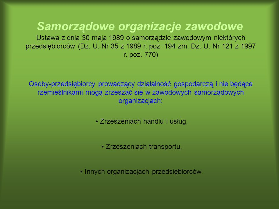Samorządowe organizacje zawodowe