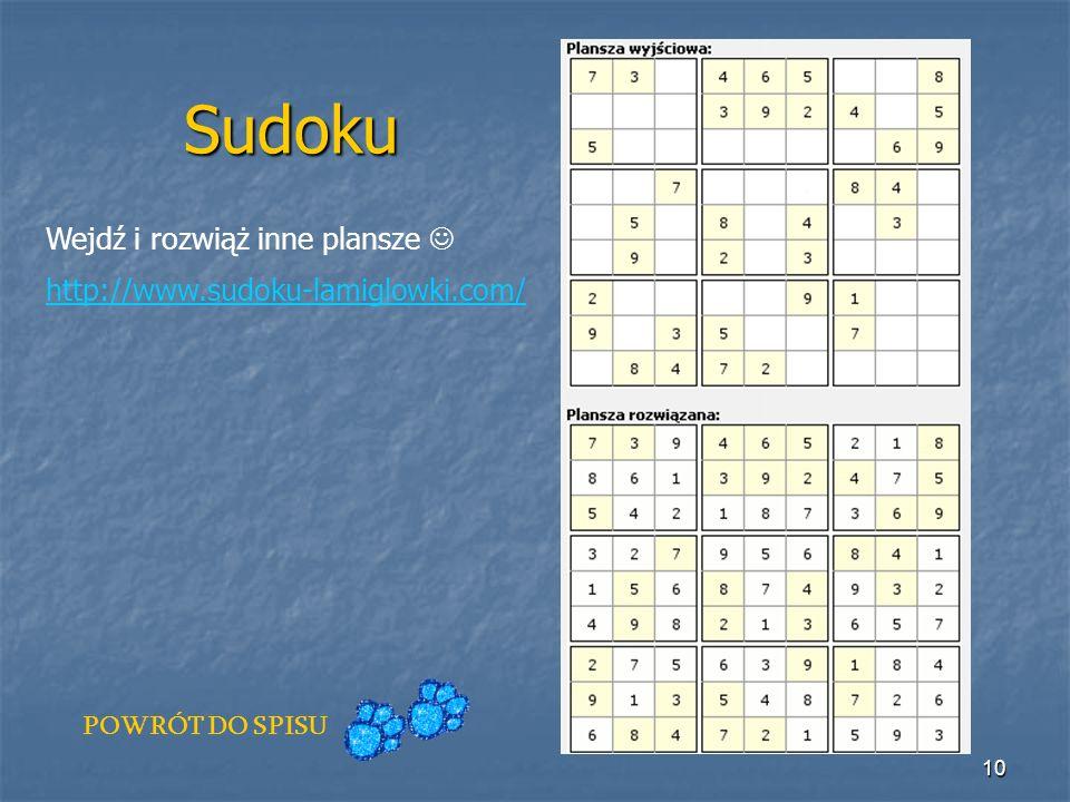 Sudoku Wejdź i rozwiąż inne plansze 