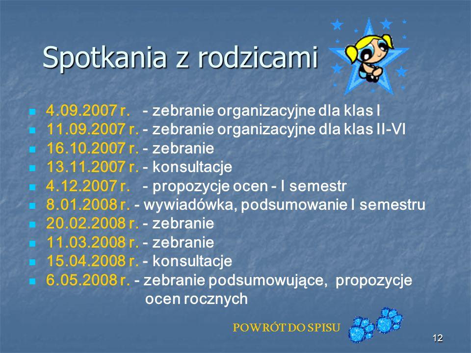 Spotkania z rodzicami 4.09.2007 r. - zebranie organizacyjne dla klas I