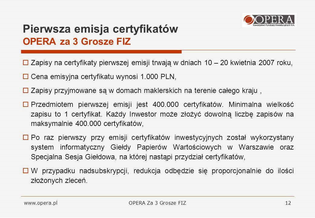 Pierwsza emisja certyfikatów OPERA za 3 Grosze FIZ