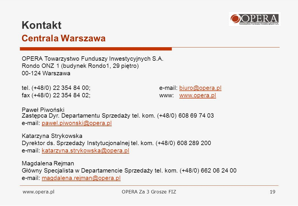 Kontakt Centrala Warszawa