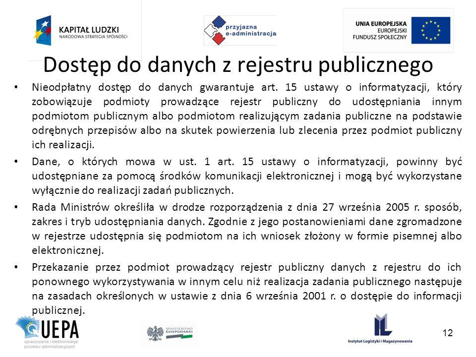 Dostęp do danych z rejestru publicznego