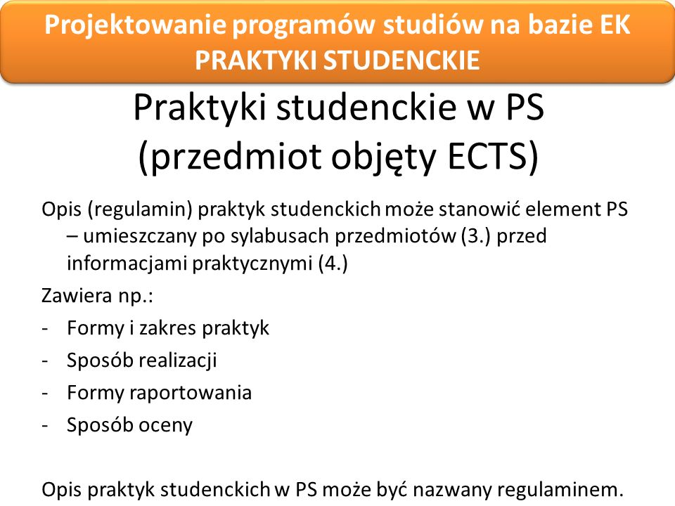Praktyki studenckie w PS (przedmiot objęty ECTS)