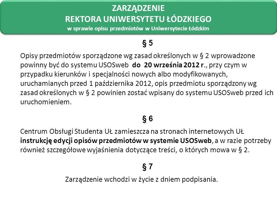 ZARZĄDZENIE REKTORA UNIWERSYTETU ŁÓDZKIEGO w sprawie opisu przedmiotów w Uniwersytecie Łódzkim