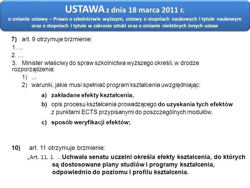 USTAWA z dnia 18 marca 2011 r. o zmianie ustawy – Prawo o szkolnictwie wyższym, ustawy o stopniach naukowych i tytule naukowym oraz o stopniach i tytule w zakresie sztuki oraz o zmianie niektórych innych ustaw
