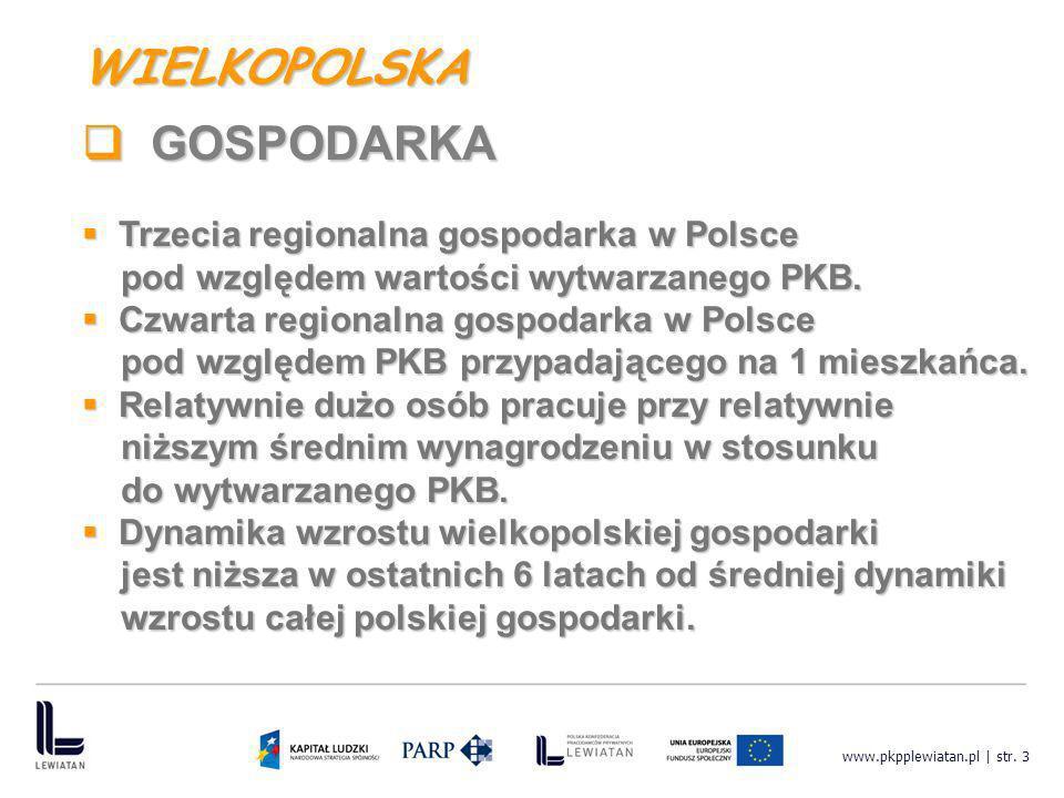 WIELKOPOLSKA GOSPODARKA Trzecia regionalna gospodarka w Polsce