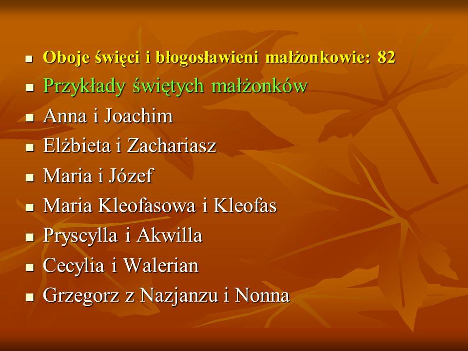 Przykłady świętych małżonków Anna i Joachim Elżbieta i Zachariasz