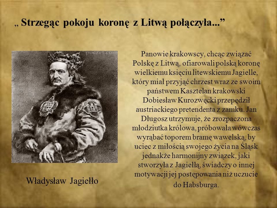 """"""" Strzegąc pokoju koronę z Litwą połączyła..."""
