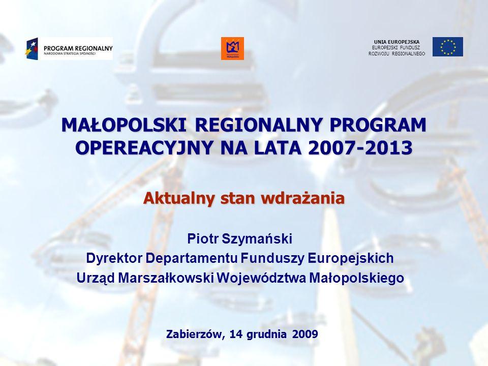 MAŁOPOLSKI REGIONALNY PROGRAM OPEREACYJNY NA LATA 2007-2013