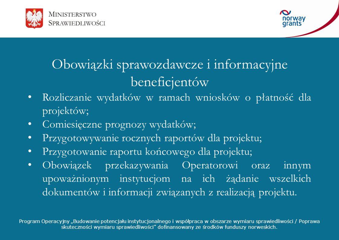 Obowiązki sprawozdawcze i informacyjne beneficjentów