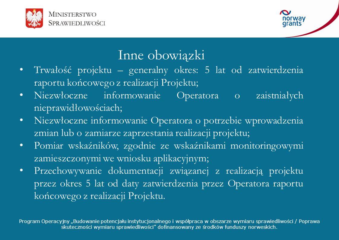 Inne obowiązki Trwałość projektu – generalny okres: 5 lat od zatwierdzenia raportu końcowego z realizacji Projektu;
