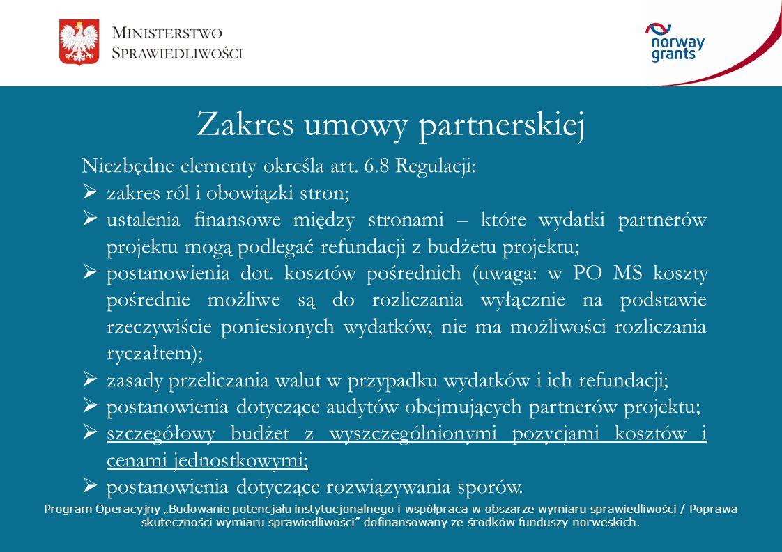 Zakres umowy partnerskiej