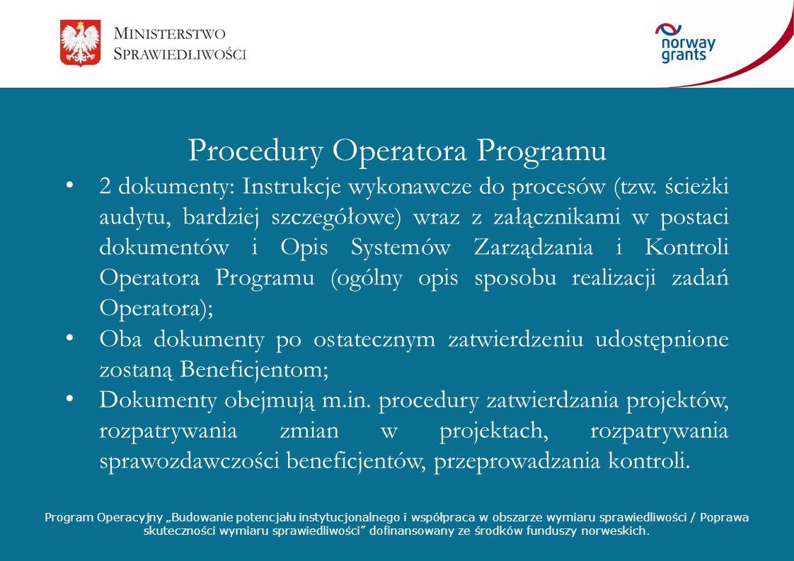 Procedury Operatora Programu