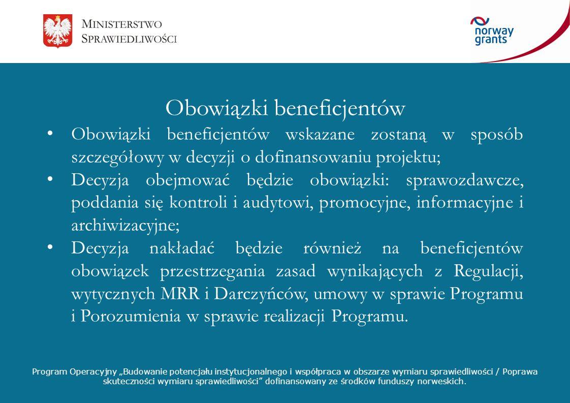 Obowiązki beneficjentów