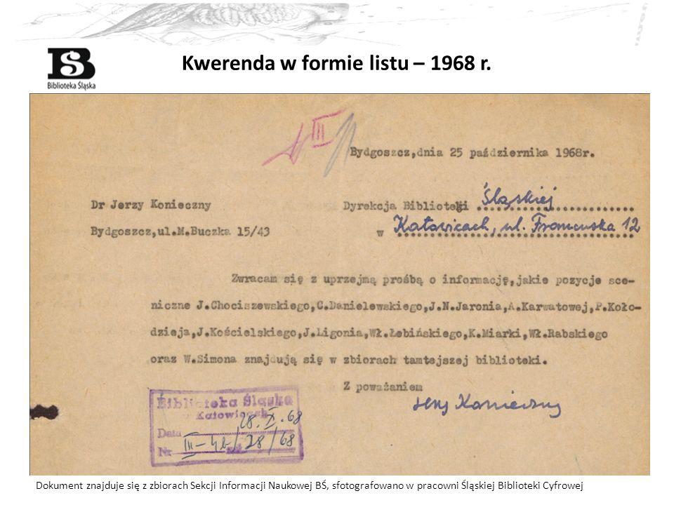Kwerenda w formie listu – 1968 r.
